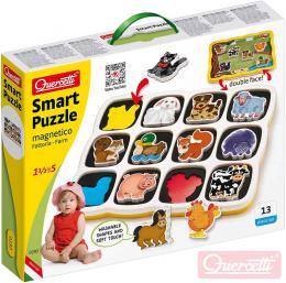 QUERCETTI Baby Smart Puzzle magnetické vkládací Farma 12 dílkù oboustranné 2v1