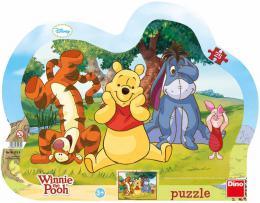 DINO Puzzle obrysové deskové 25 dílkù Schovávaná s Medvídkem Pú 30x23cm