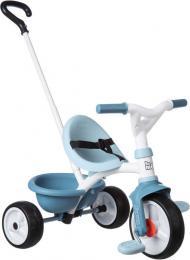 SMOBY Baby tøíkolka šlapací Be Move 68x52x52cm modrá s vodící tyèí 2v1