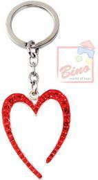 BINO Pøívìsek zdobený s drahokamy srdce èervené 10cm na klíèe kov v sáèku