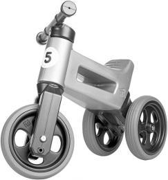 Dìtské odrážedlo Funny Wheels 2v1 odstrkovadlo tøíkolka / 2 kola ŠEDÉ plast