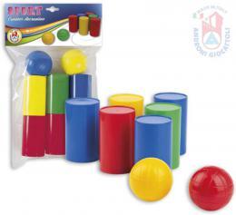 ANDRONI Hra baby kelímky házecí set 6 plechovek + 2 míèky plast v sáèku