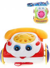 Baby telefon veselý tahací pískací 19cm pohybuje oèima 2 barvy plast