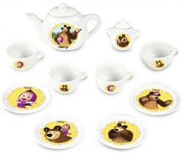 SMOBY Set kávový Máša a medvìd dìtský porcelánový servis 12ks v krabici