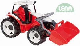 LENA Traktor plastový se lžící èerveno - bílý 62cm na písek