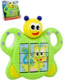 Baby puzzle brouèek pøesouvací skládaèka 3v1 na baterie Svìtlo Zvuk pro miminko