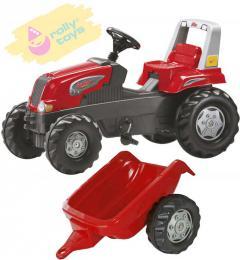 ROLLY TOYS Traktor dìtský šlapací Junior s vleèkou èervený 800315