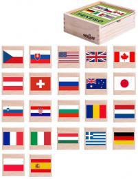 WOODY DØEVO Pexeso vlajky státù 44ks døevìný box *SPOLEÈENSKÉ HRY*