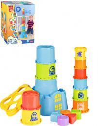 Baby hrad stohovací vkládaèka kyblík 2v1 set 18ks plast