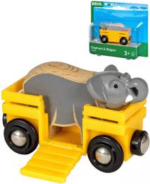 BRIO DØEVO Set vagónek nákladní + slon doplnìk k vláèkodráze
