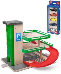 WOODY DØEVO Garáž s výtahem herní set parkovací dùm se SIKU autíèky