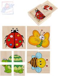 WOODY DØEVO Baby minipuzzle Beruška 4x4 dílky v krabièce 4v1 pro miminko