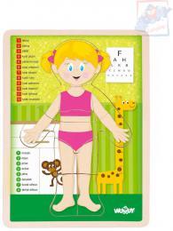 WOODY DØEVO Puzzle holka nauèná skládaèka set 13 dílkù s podložkou