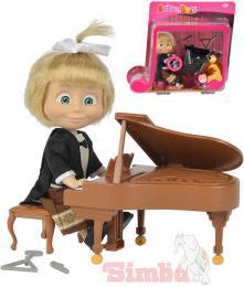 SIMBA Máša a medvìd panenka klavíristka 12cm set s pianem a trianglem na baterie