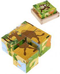 WOODY DØEVO Kubus Safari obrázkové dìtské kostky 4ks *DØEVÌNÉ HRAÈKY*