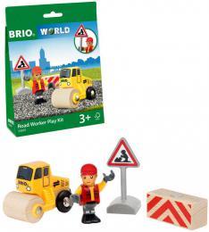 BRIO DØEVO Práce na silnici herní set s parním válcem a figurkou