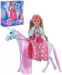 Sparkle Girlz panenka zimní princezna set s koníkem a doplòky v krabici