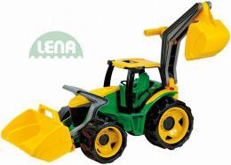 LENA Traktor na písek se lžící a bagrem zelenožlutý plast
