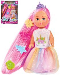 SIMBA Panenka Evièka duhová princezna 12cm set s høebenem a sponkami