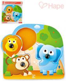 HAPE DØEVO Baby puzzle vkládací s úchyty zvíøátka džungle 3 dílky na desce