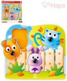 HAPE DØEVO Baby puzzle vkládací s úchyty domácí zvíøátka 3 dílky na desce