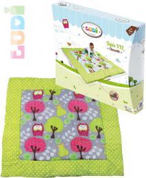 LUDI Baby hrací deka pratelná XXL sovièky a stromy 140x140cm pro miminko