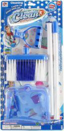 Malá uklízeèka modrý uklízecí set smeták dlouhý + lopatka plast na kartì