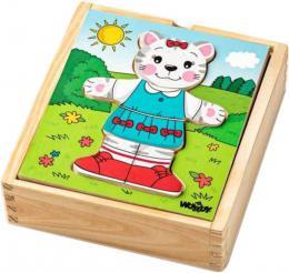 WOODY DØEVO Baby puzzle šatní skøíò koèièka 18 dílkù *DØEVÌNÉ HRAÈKY*