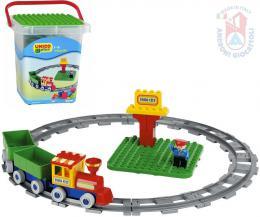 ANDRONI Unico Plus baby stavebnice Vlak 28 dílkù + figurka v kyblíku pro miminko