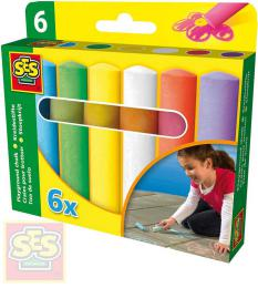 SES CREATIVE Køídy chodníkové dìtské barevné tlusté set 6ks v krabièce