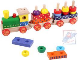 WOODY DØEVO Vlak navlékací set mašinka + 2 vagonky Svìtlo Zvuk