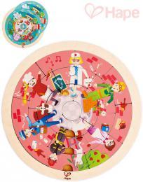 HAPE DØEVO Puzzle kruhové povolání oboustranná skládaèka v rámeèku