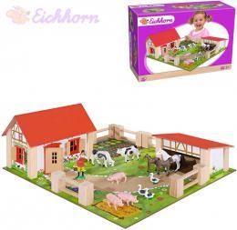EICHHORN DØEVO Farma herní set s figurkami a zvíøátky na podložce 23 dílkù