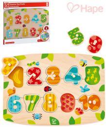 HAPE DØEVO Baby èísla na desce puzzle vkládací s úchyty 10 dílkù pro miminko