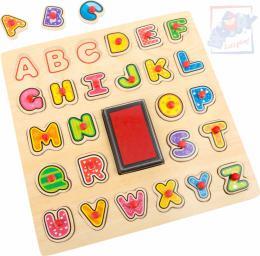WOODY DØEVO Razítka puzzle vkládací s úchyty 2v1 abeceda set 26ks s poduškou