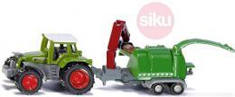 SIKU Traktor zelený s vleèkou se štìpkovaèem model kov 1675