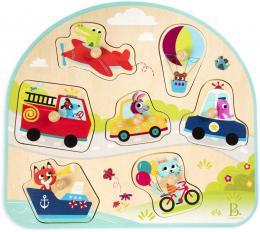 B-TOYS DØEVO Baby puzzle dopravní prostøedky vkládací na desce 7 dílkù