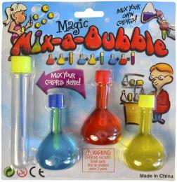 Souprava na výrobu bublifuku set 3 lahvièky s barevným roztokem na kartì