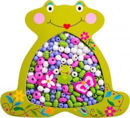 WOODY DØEVO Korálky navlákací rámeèek žabka set s barevnými provázky 2v1