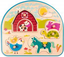 B-TOYS DØEVO Baby puzzle farma vkládací na desce 8 dílkù *DØEVÌNÉ HRAÈKY*