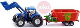 SIKU Traktor modrý New Holland set èelní nakladaè s vlekem 1:50 model kov 1988