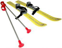SEDCO Baby lyže dìtské kluzky 70cm s holemi a vázáním žluté