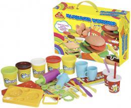 Hamburgerová dílna kreativní set modelína 5 kelímkù s nástroji a doplòky v krabici