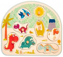 B-TOYS DØEVO Baby puzzle dinosauøi vkládací na desce 8 dílkù *DØEVÌNÉ HRAÈKY*