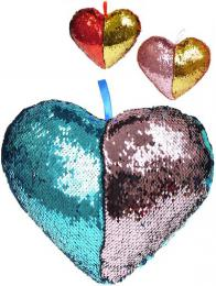 Polštáøek tøpytivý srdce s flitry s poutkem 3 barvvy