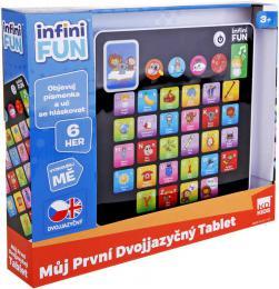 Tablet dìtský dvojjazyèný nauèný CZ/AJ na baterie 6 her Svìtlo Zvuk plast