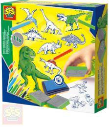 SES CREATIVE Razítka dìtská dinosauøi kreativní set 11ks s pastelkami