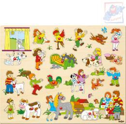 WOODY DØEVO Baby puzzle vkládací velké set 21 dílkù s úchyty na podložce