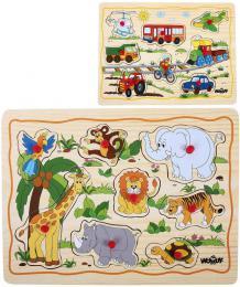 WOODY DØEVO Baby puzzle vkládací na desce s úchyty 8 dílkù rùzné druhy
