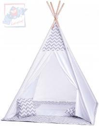 WOODY Stan dìtský indiánský 124x170x124cm set bílé TeePee + polštáøek 2ks